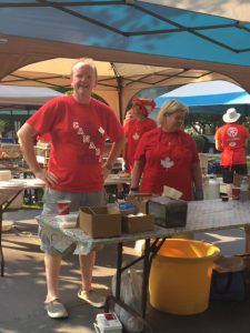 Kevin Stokes volunteering at the Canada Day Rotary Pancake Breakfast in Simcoe Park, NOTL